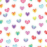 Rainbow hearts eamless pattern Royalty Free Stock Photo