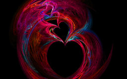 Rainbow Hearts Fractal Image royalty free stock photos