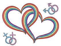 Rainbow hearts with gay symbols.Vector  Royalty Free Stock Image