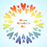 Rainbow hearts, Happy Valentines Day card Stock Photo