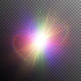 Rainbow hearts with light effects. Bright festive hearts in the style of the rainbow flag. Multi-colored flash on a transparent background Stock Photography