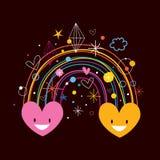 Rainbow hearts Stock Photo