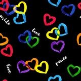 Rainbow hearts pride theme seamless pattern with white scripts on black background stock illustration