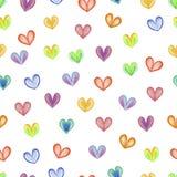 Rainbow hearts. Seamless hearts background. Happy Valentine's Day stock illustration