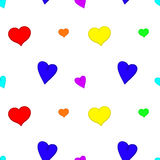 Rainbow hearts seamless background. Vector stock illustration
