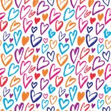 Rainbow Hearts seamless pattern. Vector repeating texture. Bright ornament for wrapping paper, kids textile design or fashion prin Royalty Free Stock Images