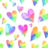 Rainbow hearts  seamless pattern. Watercolor hearts seamless pattern. Rainbow seamless pattern Stock Photography