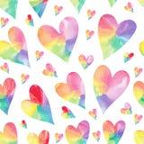 Rainbow hearts seamless pattern. Watercolor hearts seamless pattern. Rainbow seamless pattern Royalty Free Stock Photos