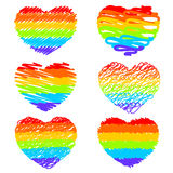 Rainbow hearts set Royalty Free Stock Image
