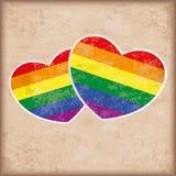 2 Rainbow Hearts Vintage. 2 rainbow hearts on the vintage background vector illustration