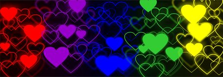 Rainbow hearts web background Stock Images