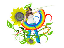 Rainbow in her arms. Attractive young people fresh music floral series Stock Photo