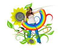 Rainbow in her arms Royalty Free Stock Photography