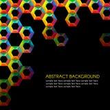 Rainbow hexagonal holes vector on black background Stock Images