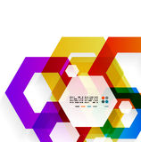Rainbow hexagons modern design template Stock Image