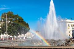Rainbow at Hochstrahlbrunnen fountain, Vienna Stock Photography