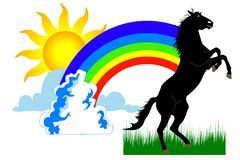 Rainbow and horse. SUN & RAINBOW AND HORSE. ILLUSTRATION Stock Photography