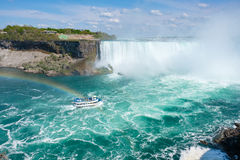 Rainbow at Horseshoe Falls. Rainbow over a boat at the Horseshoe falls at Niagara Falls Stock Photography