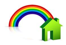 Rainbow and house Stock Photography
