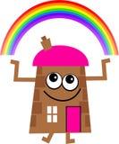 Rainbow house. Mr house with a rainbow over head Royalty Free Stock Photography