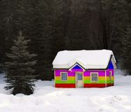 Rainbow House Buried in Snow Stock Photos