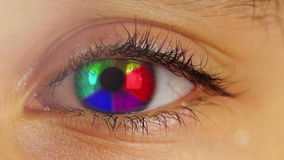 Rainbow in Human Eye. Rainbow Rotate in Human Eye stock video
