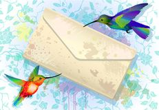 Colorful hummingbirds with grunge envelope. Rainbow hummingbirds with grunge envelope message on the splash background with roses stock illustration