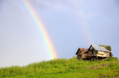 Rainbow on hut Royalty Free Stock Photo