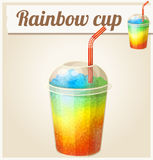 Rainbow ice cup Frozen drink. Cartoon vector icon Royalty Free Stock Images