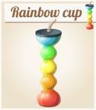 Rainbow ice cup Frozen drink unusual shape. Cartoon vector icon Stock Photography