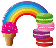 Rainbow with icecream and macaroons Stock Images