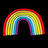 Rainbow icon on black background. Colorful line set. Cute cartoon kawaii kids clip art. Greeting card. LGBT community. Gay flag. Symbol. Flat design. Vector stock illustration