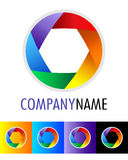 Rainbow icon and logo design. Vector modern colorful abstract circular logo design with 6 bows in colors of rainbow icon and with text for company name on white royalty free illustration