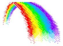Rainbow Pixel Art 8 Bit Arcade Video Game Icon. A Rainbow icon in pixel art 8 bit arcade video game style graphic illustration vector illustration