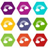 Rainbow icon set color hexahedron. Rainbow icon set many color hexahedron isolated on white vector illustration Stock Photography