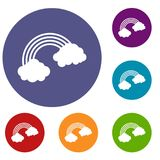 Rainbow icons set. In flat circle red, blue and green color for web Royalty Free Stock Images
