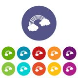 Rainbow icons set flat vector. Rainbow icons set in circle isolated flat vector illustration Royalty Free Stock Images