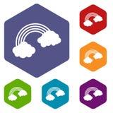 Rainbow icons set hexagon. Isolated vector illustration Royalty Free Stock Photo
