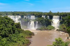 Rainbow at Iguazu Falls viewed from Brazil Royalty Free Stock Photos