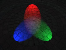 Rainbow illumination on round stone surface,disco, Royalty Free Stock Images