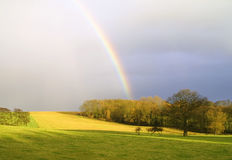Rainbow In Countryside Royalty Free Stock Photos