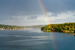 Free Rainbow In Rain During Sunshine Stock Photo - 22102300