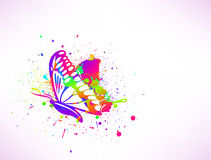 Rainbow ink butterfly on white background. Vector Stock Images