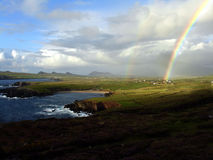Rainbow at an Irish coast Stock Photos