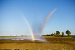 Rainbow while irrigating Stock Images