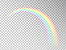 Rainbow isolated on transparent background. Realistic rainbow icon. Colorful light and bright design element for royalty free illustration