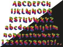 Rainbow isometric font Stock Photography