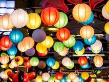 Rainbow of japan lamp interior indoor in public night plaza Stock Photos