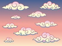 Rainbow Japanese or Chinese Swirl Curly Style Clouds in The Sky Background Vector Illustration. Rainbow Japanese or Chinese swirl curly style clouds in the sky royalty free illustration