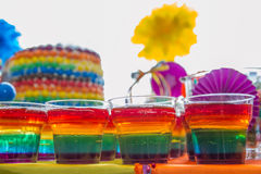 Rainbow jelly on party table Royalty Free Stock Image